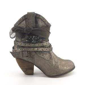Not Rated Ankle Boot 10 Glitter Cowgirl Western